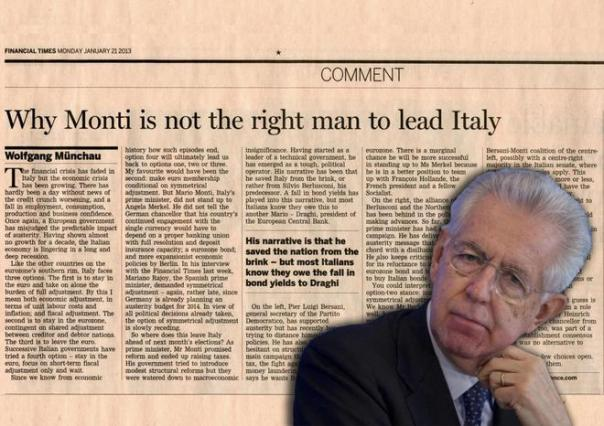 FT IRROMPE SU VOTO;MONTI IRRITATO, PD ESULTA: NOI ALTERNATIVA