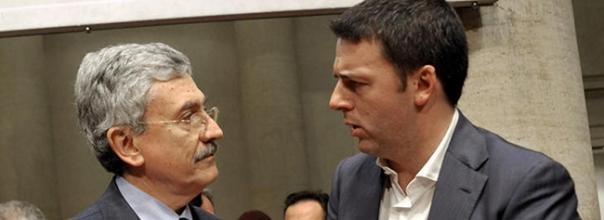 18/03/2014 Roma presentazione del libro Non solo Euro nella foto Massimo D' Alema e Matteo Renzi